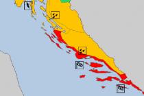 Crveno upozorenje Meteoalarma za Dalmaciju