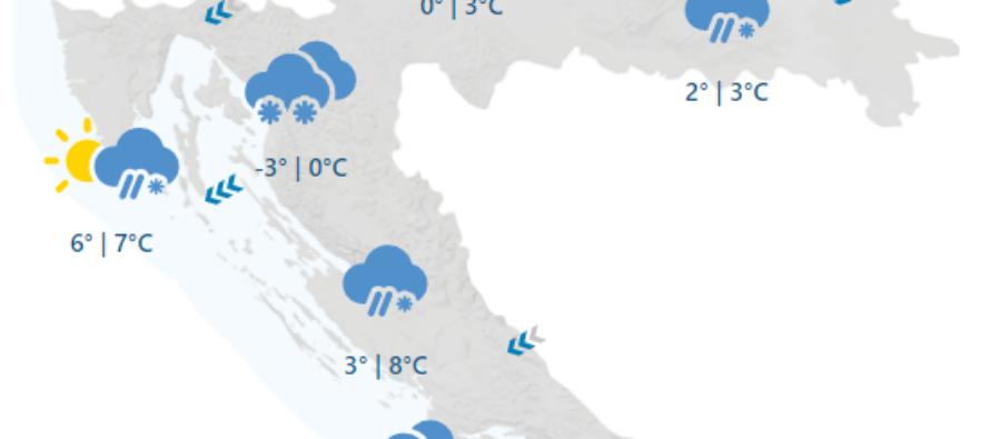U Hrvatsku je stigla najavljena hladna fronta – Snijeg pada u unutrašnjosti, na Jadranu vjetrovito uz moguće pljuskove s grmljavinom